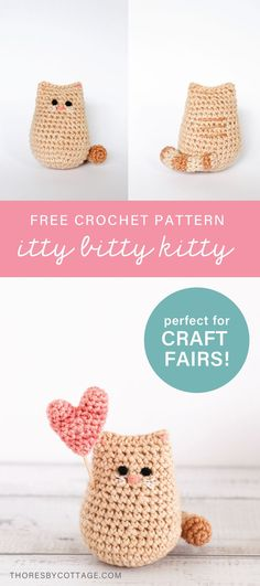 This free mini crochet kitty pattern works up very quickly, which makes it perfect for craft fairs! Each kitty can be customised so that your shoppers can find their perfect kitty companion. #freecrochetpattern #ittybittykitty #crochetcatpattern Crochet Dollies, Crochet Gifts, Cute Crochet, Crochet Yarn, Easy Crochet, Crochet Animal Amigurumi, Amigurumi Patterns, Crochet Animals, Crochet Cat Pattern
