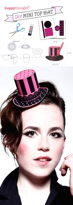 Printable Mini paper top hats for a sexy burlesque costume. with step-by-step instructions. Burlesque Party, Burlesque Costumes, Diy Costumes, Hat Template, Steampunk Top Hat, Hat Tutorial, Alice In Wonderland Tea Party, Ideias Diy, Diy Hat