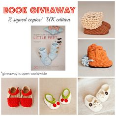 """Book Giveaway!  I am giving away two signed copies of my """"Super Cute Crochet for Little Feet"""" book! How to enter see our Facebook page (just click on photo to be redirected)!  On Friday I will announce the winners!  Feel free to share with your friends, but it is not obligatory to enter the competition!"""