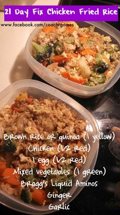 21 Day Fix Fried Rice - 1 yellow, 1 red, 1 green Healthy Recipes, Clean Eating Recipes, Healthy Cooking, Healthy Eating, Cooking Recipes, 21 Day Fix Quinoa Recipes, 21 Day Fix Snacks, Fixate Recipes, Healthy Lunches