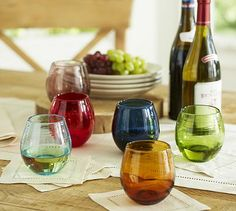 Colorful Stemless Wine Glass, Set of 6 #potterybarn - add color to bar / wine cart #wishlist