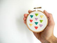 "Rainbow triangles Embroidery,  Arrows hand embroidery hoop wall art,3"" ,geometric rainbow room decor,home decoration,under 25"
