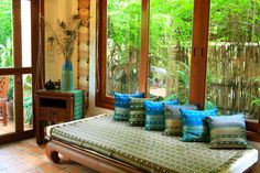 what a peaceful place to relax! Teak Furniture, Outdoor Furniture, Outdoor Decor, Home Comforts, Peaceful Places, House Decorations, Chiang Mai, Daybed, Future House