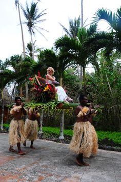 Make a GRAND entrance by arriving to your wedding on a platform carried by four body-painted Fijian warriors!   Namale Resort & Spa, Fiji