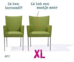 De Arc combineert een eenvoudig maar aansprekend design met een uitstekend zitcomfort. De hoogwaardige roestvrijstalen, ronde benen maken een subtiele buiging die vanuit de rug is ingezet. Stoel Arc is ook verkrijgbaar in een super comfortabele XL uitvoering; dan is de stoel 10 cm breder. Dining Chairs, Make It Yourself, Xl, How To Make, Furniture, Design, Home Decor, Lights, Decoration Home