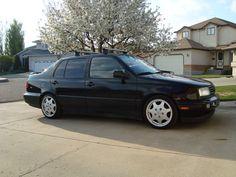 1996 Volkswagen Jetta. Black, with ski rack.
