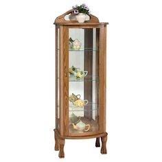 Amish Rectangular Curio Cabinet An extra special cabinet made for your extra special keepsakes. Three shelves in glass or wood. Mirrored back. Touch lighting. It's a beauty made in Amish country. #curiocabinets Amish Country, Cabinet Making, Vintage Plates, Cabinet Doors, Glass, Woodworking, Vintage Signs, Drinkware, Corning Glass