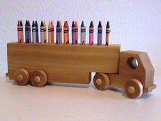 Handmade Wooden Crayon Holder Truck In A Natural Finish From Ozark Rustic Wood. $45.00, via Etsy.