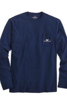 Long-Sleeve vineyard vines Logo Graphic Pocket T-Shirt