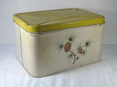 Vintage Bread Box Yellow Pinecone Shabby by LavenderGardenCottag