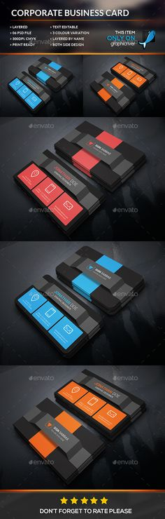 Rectangle Corporate Business Card Template #design  Download: http://graphicriver.net/item/rectangle-corporate-business-card-/12324118?ref=ksioks