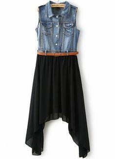 Black Contrast Denim Asymmetrical Chiffon Dress pictures