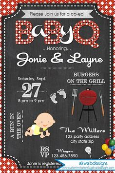 baby q shower invitation bbq baby shower babyq barbecue baby shower coed baby shower invite bun in the oven baby shower pinterest shower