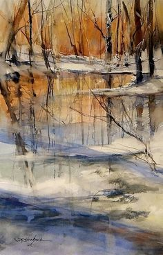 Evening Thaw Painting by Sandra Strohschein - Evening Thaw Fine Art Prints and Posters for Sale #watercolorarts