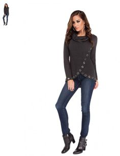 This Belldini best seller is a criss-cross style sweater for women comes with a cowl neckline and grommet trim along the bottom stiches. The front of this long sleeve pullover reaches the upper thigh and is longer in the back.