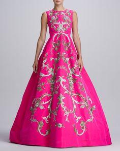 Baroque Embroidered Silk Gown, Shocking Pink by Oscar de la Renta