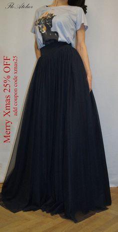 May Women Tulle Skirt/Tutu Skirt/Princess Skirt/Wedding Skirt/Long Skirt/Black Since the Dress Indian Style, Indian Fashion Dresses, Skirt Fashion, Fashion Outfits, Tutu Rock, Wedding Skirt, Maxi Skirt Black, Handmade Skirts, Casual Skirts