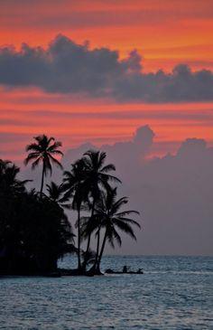 Sunset San Blas Islands Panama.