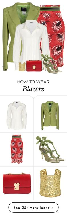 """red & green"" by divacrafts on Polyvore featuring Class Roberto Cavalli, Stella Jean, Donna Karan, Alberta Ferretti, Valentino, Ettika and Original"