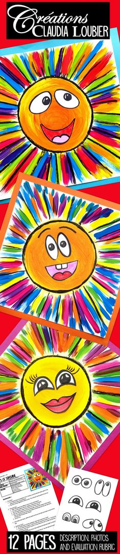 With this simple project, the students learn how to create their secondary colours by using the primary colours. For preschool up to Grade You will need liquid tempera paint, white cardboard, and black wax crayons or felts. I drew some examples of eyes Art 2nd Grade, Grade 2, Classe D'art, Art Lessons Elementary, Kindergarten Art Lessons, Spring Art, Art Lesson Plans, Art Classroom, Art Club