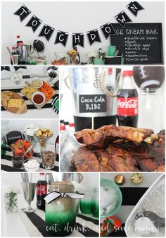 Game Day Collage. Celebrate the big game on a little budget. You don't have to spend a lot of money to throw a fabulous home bowl party. Check out the recipe for Coca-Cola ribs, and find out how to put together a stellar ice cream bar with REESE's products. #HomeBowlParty #CollectiveBias ad | www.eatdrinkandsavemoney.com