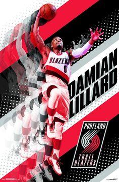 Portland Trail Blazers Damian Lillard Rose City Slam 22x34 Basketball Poster