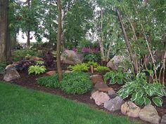 Build up a hill on my tree edged hill!    Shade Garden, Landscape Design,Hosta,Astble, Heuchera, Gardens, Landscaping, Rock Garden, Shade Garden