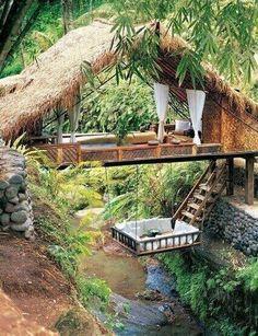 Tree house anyone? phiplanet Tree house anyone? Tree house anyone? Outdoor Spaces, Outdoor Living, Outdoor Decor, Outdoor Bedroom, Outdoor Retreat, Bali Retreat, Outdoor Lounge, Backyard Retreat, Yoga Retreat