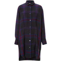 Sea Woven Plaid Pintucked Shirt Dress ($415) ❤ liked on Polyvore