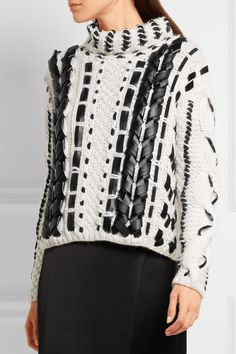 Altuzarra | Caravan leather-trimmed cable-knit wool-blend sweater…