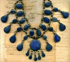 """Tibetan LAPIS Necklace & Earrings Silver/Brass Heishi Beads 4 Str Teardrops 20"""""""