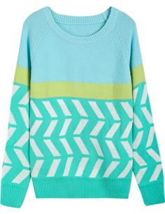 Light Blue Contrast White Long Sleeve Zigzag Sweater - Sheinside.com