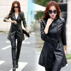Sheep leather Long Section Trench Coat Slim Windbreaker Stand Collar Spring Autumn Overcoat Cloaks for Women #Affiliate