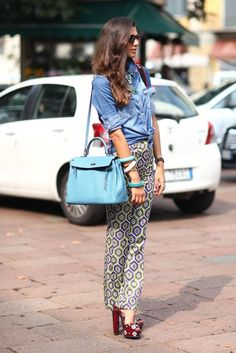 denim shirt with printed pants - lovely