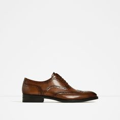 ZARA - MAN - BROWN LEATHER SHOES WITH BROGUING