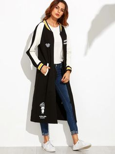 SheIn offers Black Cartoon Print Striped Raglan Sleeve Longline Baseball Jacket & more to fit your fashionable needs. Coats For Women, Jackets For Women, Black Cartoon, Hai, Types Of Sleeves, Jogging, Outerwear Jackets, Clothes, Fashion Dresses