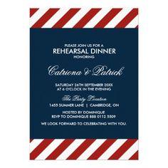 Formal Dinner Rehearsal Dinner Invitations Blue and Red Nautical Rehearsal Dinner Invitation