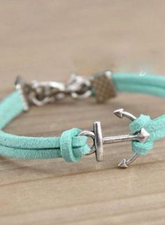 Teal/Turquoise Charm - Suede Anchor Bracelet with Clasp
