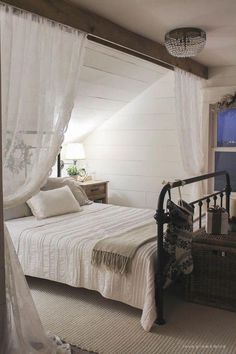 Awesome 150 Stunning Romantic Master Bedroom Design Ideas You Must Try Decoor - room divider ideas - Bedroom Decor Angled Ceilings, Farmhouse Master Bedroom, Attic Bedroom Designs, Master Bedrooms Decor, Bedroom Decor, Home, Attic Bedroom, Home Decor, Room Interior