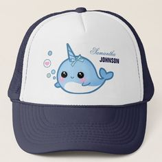 Shop Cute baby narwhal - Personalized Trucker Hat created by Chibibunny. Baby Narwhal, Kawaii Narwhal, Cute Narwhal, Cute Cartoon Animals, Cute Animals, Narwhal Pictures, Blue And White Hats, Cute Hats, Cute Babies