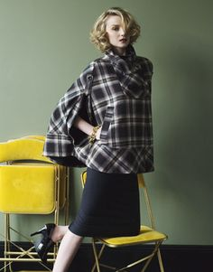 these yellow folding chairs would look great with the tulip table too, but how great is this coat?