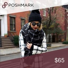 """COMING SOON 🍁 Black Windowpane Blanket Scarf Coming soon! Ultra chic, ultra cozy blanket scarf that adds the """"!"""" to every cold weather outfit. 60x60. kate elle Accessories Scarves & Wraps"""