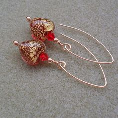 Red Venetian Murano Glass Gold Filled Heart Earrings £22.00
