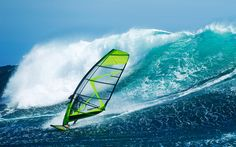 Download wallpapers Windsurfing, ocean, big wave, extreme sports, summer sports