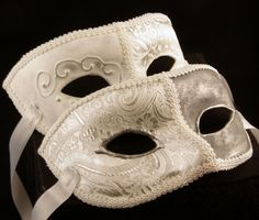 Bianca (White) Female and Male Paired Masks for Masquerade/Costume/Halloween/Mardi Gras/Wedding. $98.00, via Etsy.