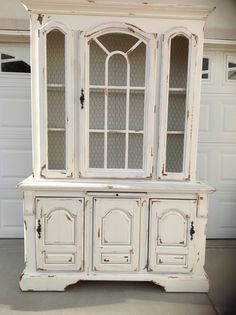 Distressed Chippy paint white hutch