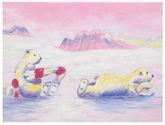 Tableau de l'artiste Sybille Marquis pour chambre de bébé - Ours polaires rose