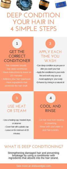 Are you experiencing dry hair? It may be because your hair is lacking moisture. Regular deep conditioning can help, but it doesn't have to take a lot of your time. See how you can deep condition your hair in 4 easy steps. | ARelaxedGal.com