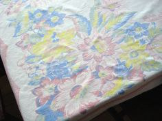 Vintage 1950s Tablecloth Square Pastel Spring by bycinbyhand