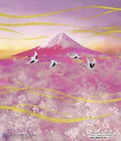 赤富士と桜 Fuji Mountain, Japanese Party, Monte Fuji, Japanese Nature, Fabulous Birthday, Japanese Painting, Japanese Artists, Asian Art, Cherry Blossom